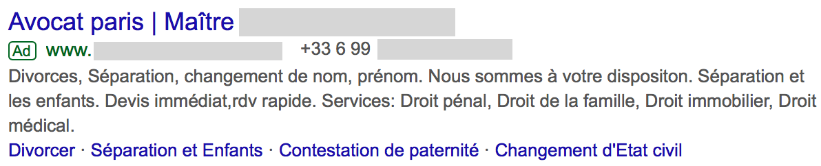 Annonce google ads avocat