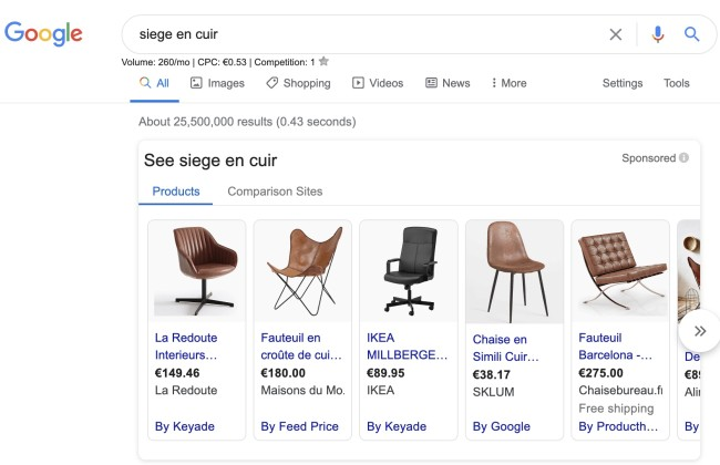 siege en cuir google shopping